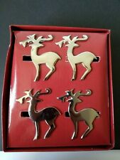MIKASA Winter Dreams Christmas Reindeer Napkin Rings Holders Holiday Silver