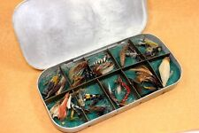 Fly Fishing Aluminum Box w/ Trout Flies Vintage 40's Traverse City, Michigan