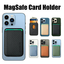 For iPhone 13 12 Pro Max Mini MagSafe Magnetic Fiber Leather Wallet Card Holder