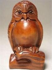 Japanese boxwood wood netsuke owl figurine