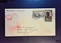France 1939 Marseille to NYC First Flight Cover - Z1076