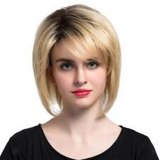 12'' Perruque Femmes Blonde et Noire Mix Courte en Couches en Vrais Cheveux