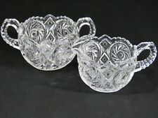 Antique EAPG McKee PresCut Glass AZTEC Crystal Buzzsaw Creamer & Sugar Bowl