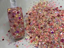 glitter mix acrylic gel nail Art   PEACH PERFECT