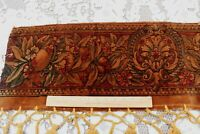 Antique French c1860-1870 Heavy Printed Wool Fruit & Floral Border Fabric~29X11