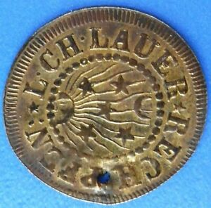 NÜRNBERG GERMANY ca. 1800s PLUS ULTRA SHIP RIVER TOKEN...L. CH. LAUER..RECH PFEN