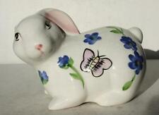 Bunny Rabbit Figure Hand Painted Ceramic-Porcelain-Butterf lies-Flowers-Colorful