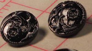 """12 Vintage Medium Glass Shank Buttons Black 4 Flower Design Czech 3/4"""" 18mm #68"""