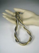 Monet Women's Necklace Size 17 Inch Choker Goldtone Modern Silvertone Braided
