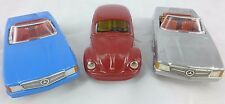 3x VW Red Beetle/ Silver & Blue Mercedes Kovap Europe Made Tin Toy Collectable