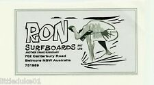VINTAGE / RETRO RON SURFBOARDS Sticker Decal Surfboard 1960's LONGBOARD SURFER