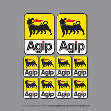 SKU2401 - Set of 10 AGIP Stickers - Decals - 98mm x 70mm & 48mm x 35mm