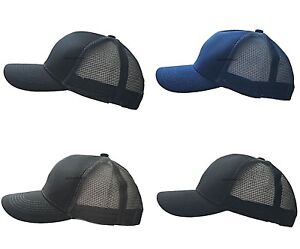 MENS CLASSIC TRUCKER MESH HAT PLAIN BASEBALL CAP CURVED SUMMER ADJUSTABLE UNISEX