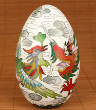 Rare Chinese Old Cloisonne Handmade Painting Dragon phoenix  Egg Statue Statue