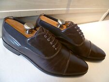 DOLCE & GABBANA D&G Dk Brown Oxford UK 8.5 42.5 completo in pelle a punta Cap Toe