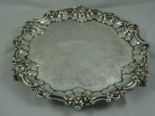 More details for attractive victorian silver salver, 1857, 580gm