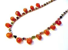 Fancy .925 Sterling Silver 110cttw  Faceted Sunstone & Tourmaline Necklace F11