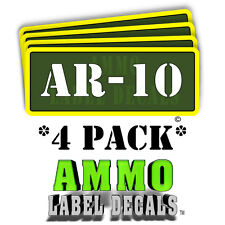 "AR-10 Ammo Label Decals Ammunition Case 3"" x 1"" Can stickers 4 PACK -YWagRD"