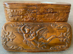 Hand Carved Wooden Snuff Box Cupids Man Lady Nude Angels Antique European Hinged