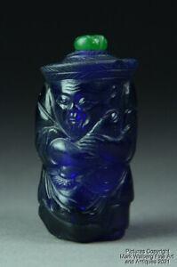 Chinese Carved Cobalt Blue Peking Glass Figural Snuff Bottle, Fisherman