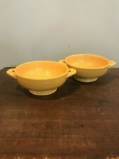 VINTAGE FIESTA WARE YELLOW CREAM SOUP BOWLS  LOT OF TWO