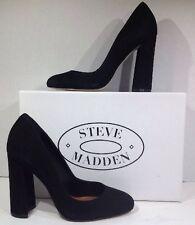 Steve Madden Spectur Women Size 8 Black Nubuck Leather Heels Pumps Shoes ZI-1108
