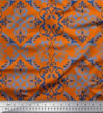 Soimoi Orange Cotton Poplin Fabric Vector Design Damask Print Fabric-zk8