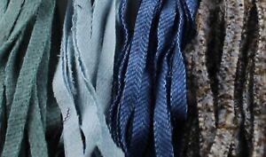 100 Assorted Blue #8 Wool Strips for Rug Hooking