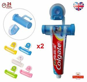 2 x Toothpaste Dispenser Rolling Squeezer  Holder Hanging Suction Plastic Tube