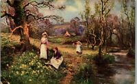 Springtime along the creek young women gathering flowers Vintage Postcard DD1