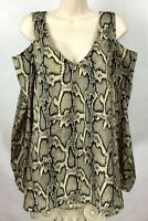 Show Me Your Mumu Womens Size M Top Blouse Cold Shoulder Long Sleeve Snakeskin