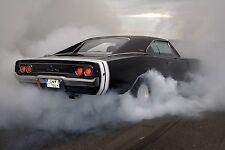 1970 Dodge Charger burnout 24 X 36 INCH POSTER, classic, muscle car, mopar