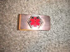 Red Star of Life Gold Tone Money Clip