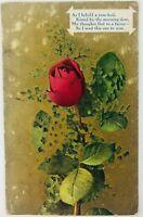 Vintage Love Poem with Red Rose Gold Background As I Behold a Rose Bud Postcard