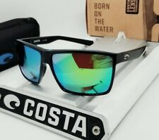 "COSTA DEL MAR shiny black/green mirror ""RINCON"" POLARIZED 580P sunglasses! NEW!"