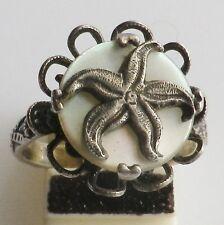 bague vintage décor étoile de mer relief cabochon nacre taille réglable