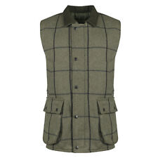 New Mens British Tweed Waistcoat Country Shooting Wool Farming Bodywarmer Gilet