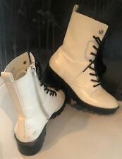 Forever 21 white faux leather lace up round mid calf combat military boots 7.5