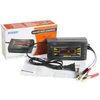 12V Lead-acid Battery Charger Smart Fast for Car Motorcycle LCD Display US Plug
