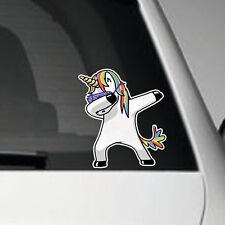 Dabbing Rainbow Unicorn- SELF ADHESIVE VINYL CAR DECAL GRAPHIC STICKER