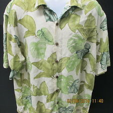 Hilo Hatties Hawaiian Style Shirt, S/S, Large, Various Leaves, White & Green