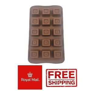 15 Hole 3D Squares Silicone Cake Chocolate Mould Mold Wax Melts Baking Fudge Ice