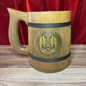 Viking Mug Celtic Knot Wedding Gift Wooden Beer Stein Runes Stainless Steel