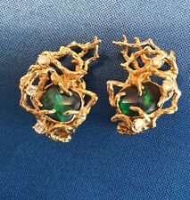 Rare ARTHUR KING Jewelry Earrings. Black Opals,Diamonds.18Kt. Gold. Magnificent