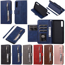 For Samsung M30 M20 A70 A50 S9 Zipper Leather Wallet Card Holder Flip Case Cover