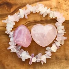 Rose Quartz Heart Gem Chip Bracelet and Tumblestone Gift Set Love Healing Reiki