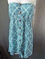 Womens sz XL Street Flower Halter Shirt Nwts strapless blue floral s31-pb18