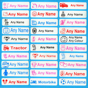 30 Printed Iron-On Name Tags Tapes Custom Labels School Clothes Personalised Kid