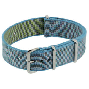 Premium NATO Watch Strap with Polished Steel Buckle and Keepers in SKY BLUE