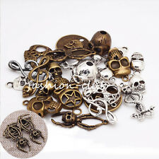 100g Gothic Metal Mixed Skull Note Pendant Charms For Necklace Jewelry Makings